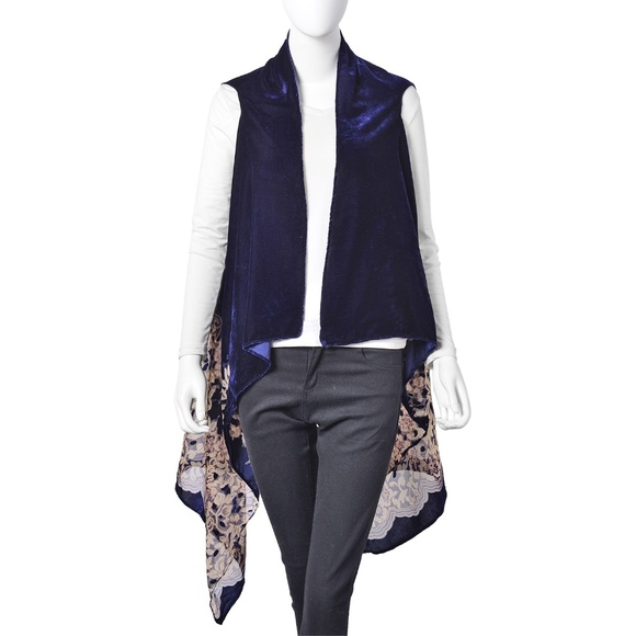 Jackets & Blazers - Kimono Floral Pattern Polyester Sheer Navy